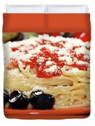 Spaghetti With Tomatoes And Olives Food Background Duvet Cover
