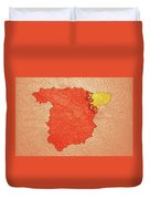 Spanish And Catalonia Tattoo With Stitches Duvet Cover