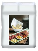 Spanish Smoked Meats Ham And Cheese Platter Starter Dish Duvet Cover