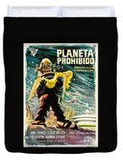 Spanish Version Of Forbidden Planet In Cinemascope Retro Classic Movie Poster Duvet Cover