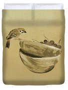 Sparrow And Bowl Of Cherries Duvet Cover