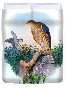 Sparrow Hawk Antique Bird Print Joseph Wolf Birds Of Great Britain  Duvet Cover