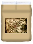 Sparrow In Winter Iv - Textured Duvet Cover by Angie Tirado