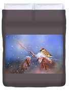Sparrow In Winter Duvet Cover