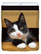 Special Delivery Tuxedo Kitten Duvet Cover
