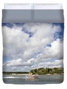 Speedy Red Boat Duvet Cover