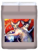Sphynx Cats Sphinx Family Painting  Duvet Cover