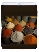 Spices For Sale In Souk, Fes, Morocco Duvet Cover
