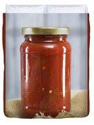 Spicy Salsa In Clear Glass Jar Duvet Cover