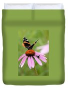 Spider And Butterfly On Cone Flower Duvet Cover