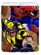 Spider And The Wolverine Duvet Cover