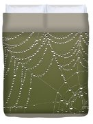 Spider Web With Water Droplets  Duvet Cover