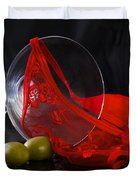 Spilled Martini With Red Panties Duvet Cover