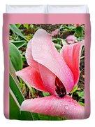 Spiral Pink Tulips Duvet Cover