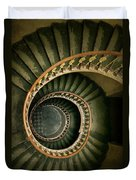 Spiral Staircase  In Green And Yellow Duvet Cover