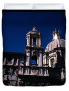 Spire And Cupola St Agnese In Agone Piazza Navona Rome Italy Duvet Cover