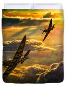 Spitfire Attack Duvet Cover by Chris Lord
