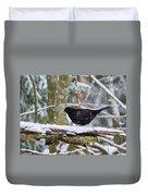 Splash. Eurasian Blackbird Duvet Cover