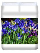 Vivid Blue Iris Flowers Duvet Cover