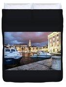 Split Harbor Night View In Croatia Duvet Cover