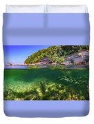 Split Level Reef And Trees With Pier Duvet Cover