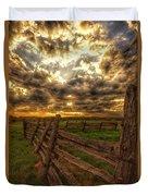 Split Rail Cedar Fence Sunset Duvet Cover