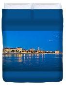 Split Waterfront Blue Hour View Duvet Cover