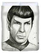 Spock Watercolor Portrait Duvet Cover