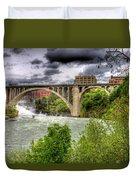 Spokane Falls And Monroe Bridge Duvet Cover