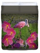 Spoonbill Through The Flowers Duvet Cover