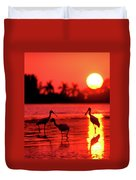 Spoonbills At Sunset Duvet Cover