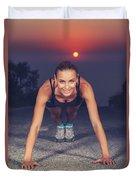 Sportive Woman Doing Pushups Outdoors Duvet Cover