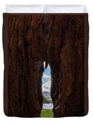 Spot The Lake Shore View Through The Hollow Tree Trunk Duvet Cover