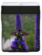 Spotted Moth On Purple Flowers Duvet Cover