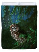 Spotted Owl In Ancient Forest Duvet Cover