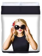 Spray Tan Girl Wearing Goggles. Tanning Beauty Duvet Cover