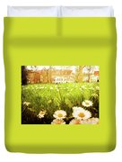 Spring. A Medow Spread With Daisies In Baden-baden, Germany Duvet Cover