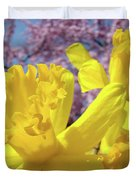 Spring Art Prints Yellow Daffodils Flowers Pink Blossoms Baslee Troutman Duvet Cover