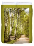 Spring Birches Woods Footpath Duvet Cover