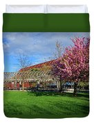 Spring Bloom At Christopher Columbus Park Boston Ma Cherry Blossoms Duvet Cover