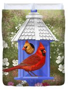 Spring Cardinals Duvet Cover by Crista Forest