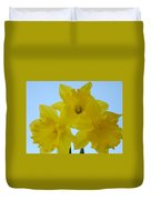 Spring Daffodils 2 Flowers Art Prints Gifts Blue Sky Duvet Cover