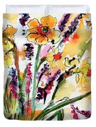 Spring Daffodils Flowers Watercolor Painting Duvet Cover