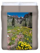 Spring Dandelion And Mountain Landscape Duvet Cover