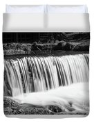 Spring Falls At Hodgson Grayscale Duvet Cover