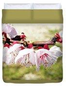 Peach Flowers Duvet Cover