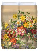 Spring Flowers And Poole Pottery Duvet Cover by Albert Williams