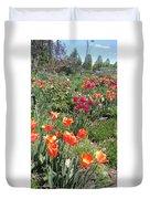 Spring Flowers In A Garden Duvet Cover