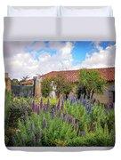 Spring Flowers In The Carmel Mission Garden Duvet Cover