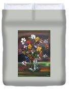 Spring Flowers In Vase Duvet Cover